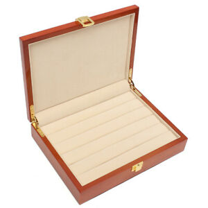 Vintage Large Wooden Ring Earring Jewelry Display Box Case Storage Organizer 24x