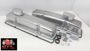 Small Block Chevy Short Finned Aluminum Valve Covers Gaskets Breathers Sbc 350