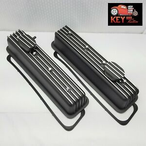 Small Block Chevy Tall Black Finned Aluminum Center Bolt Valve Covers Vortec 350