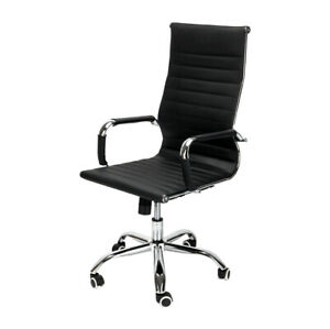 Height Adjustable Office Executive Chair Computer Desk High Back Leather Seat
