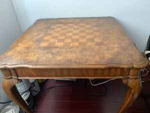 Vintage Mid Century Weiman Dining Table Chess Board Top Inlay Maple Rare