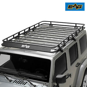 Eag 4 Door Roof Rack Cargo Basket W Wind Deflector Fit 07 18 Jeep Wrangler Jk