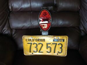 Vintage 1956 California License Plate With Original Bracket And Tail Light
