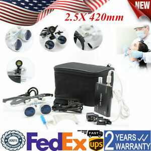Dental Lab Medical Surgical Binocular Adjusted Loupes 2 5x 420mm With Headlight