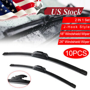 10 Pack Of 26 18 Inch Bracketless Windshield Wiper Blades J hook