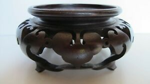 Antique Chinese Carved Wood Pedestal Vase Statue Stand For 3 75 Vase Base