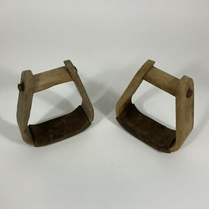 Horse Stirrups 2 Western Style Wooden Antique From Virginia Farm Barn
