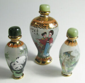 Set Of 3 Rare Antique Perfume Bottles With Hand Painted Asian Art