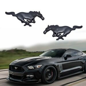 2pc Black Running Pony Horse Emblem Stickers For Ford Mustang Side Fender Trunk