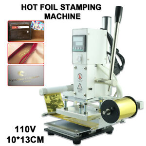 10 13cm Hot Foil Stamping Machine Automatic Leather Craft Press Embossing 110v