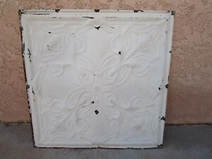 Antique Metal Tin Ceiling Tile 24 X24 Shabby Chic Reclaim Salvage