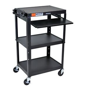 Adjustable Height Black Metal A v Cart W Pullout Keyboard Tray