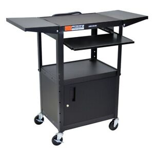 Adjustable Height Black Metal A v Cart W Pullout Keyboard Tray Cabinet