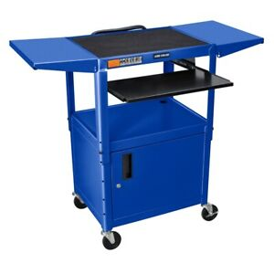 Adjustable Height Blue Metal A v Cart W Pullout Keyboard Tray Cabinet
