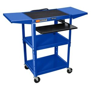 Adjustable Height Blue Metal A v Cart W Pullout Keyboard Tray 2 Drop Leaf