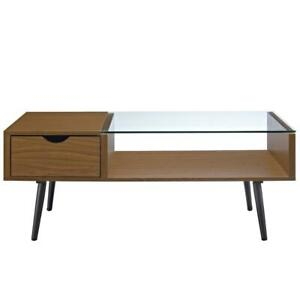 42 Wood And Glass Coffee Table Pecan