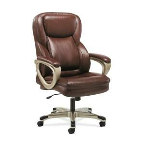 Sadie Executive Computer Chair Fixed Arms For Office Desk Brown Leather