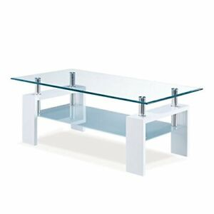 Global Furniture Glass And Frosted Coffee Table With Glossy White Base