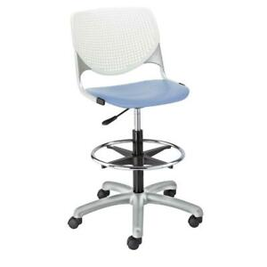 Kool Poly Adjustable Drafting Stool With Perforated Back White Back Peri