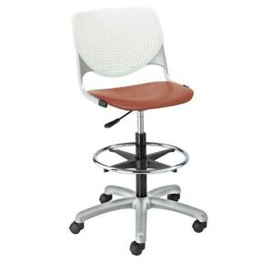 Kool Poly Adjustable Drafting Stool With Perforated Back White Back Coral