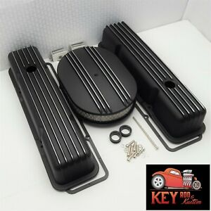 Small Black Chevy Black Finned Aluminum Valve Covers Breathers Sbc Air Cleaner