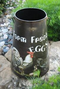 Big Rooster Chicken Can Bucket Pail Farm Eggs Primitive French Country Decor New