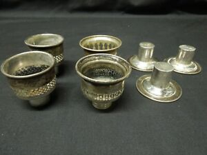 Lot Of Vintage Sterling Silver Screw In Candlestick Drip Catchers