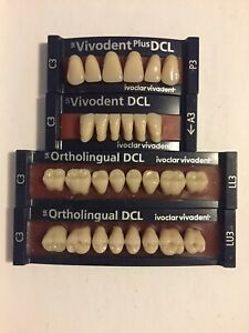 Ivoclar Vivadent Ortholingual Dcl 4 Cards Of C3 Teeth For Dental Lab Materials