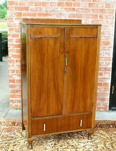 English Antique Queen Anne 2 Doors 1 Drawer Cabinet Wardrobe Armoire