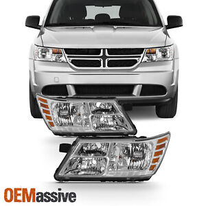 Fits 2009 2019 Dodge Journey Chrome Headlights Lamps Complete Replacement Set