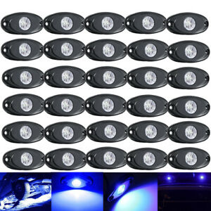 30x Led Rock Lights Blue For Jeep Car Truck Suv Boat Under Body Trail Rig Lights