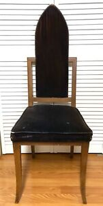 Gothic Revival John Turano Sons Brown Velvet Wood Art Deco Chair