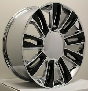 4 22 Chrome Black Platinum Escalade Wheels Rims Silverado Tahoe Sierra Yukon