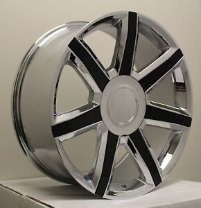 22 Chrome Blk Insert Escalade Luxury Wheels Rims Silverado Tahoe Sierra Yukon