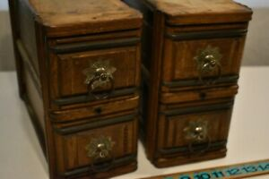 Set Of 4 Antique New Home Treadle Sewing Machine Cabinet Drawers W Frames