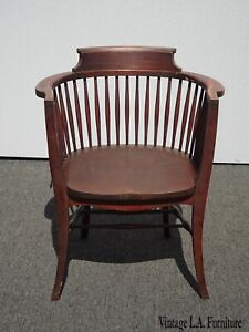 Antique French Country Solid Wood Accent Captain Tub Chair W Veritical Spindles