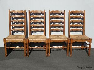 Set Four Vintage French Country Oak Ladderback Rush Dining Chairs Ladder Back