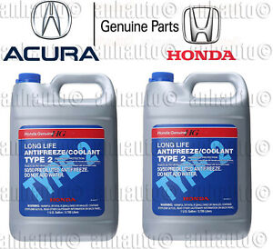 2x Gallons Genuine Honda Acura Long Life Antifreeze Coolant blue Color