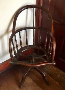 Antique Windsor Bow Back Wooden Solid Mahogany Office Desk Chair Spinning Shaker