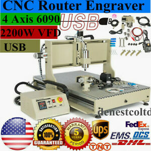 Usb 4 Axis 6090 Cnc Router 3d Engraver 2200w Vfd Desktop Milling Carving Machine