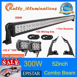 300w 52 Led Light Bar 2x 18w mounting Bracket Fits Jeep Jk Wrangler Windshield