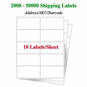 10 Up Blank Shipping Address sku Labels 2 x4 200 5000 Sheets For Laser inkjet