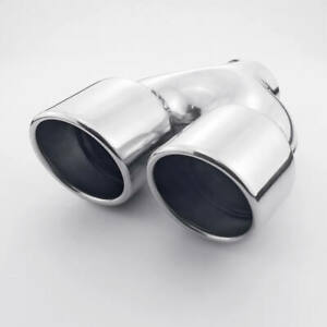 Twin Out Stainless Exhaust Tailpipe Tip 2 5 Inlet Dual 3 5 Outlet Slant Cut
