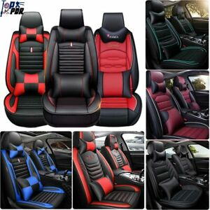 Car Seat Cover Pu Leather Cooling Mesh 5 seats Front rear auto Pillows Full Set