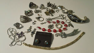 Lot Of Silver Jewelry For Scrap