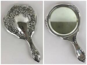 Antique Wilcox Roth Co Art Nouveau Repousse Sterling Silver Hand Vanity Mirror