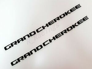 2pcs New Set Gloss Black Grand Cherokee 3d Letters Emblems Nameplate Jeep Badge
