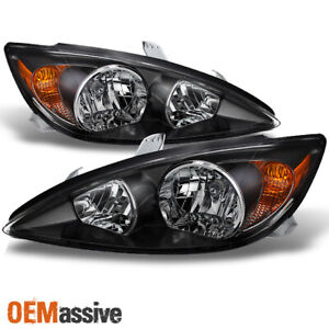 Black Fits 2002 2003 2004 Toyota Camry Le Se Xle Headlights Replac
