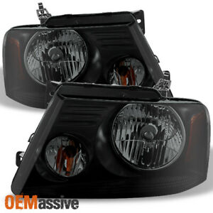 Fit 04 08 Ford F150 Pickup Black Smoked Headlights Replacement Lamp L r
