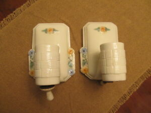 Vintage Two Ceramic Bathroom Wall Light Sconces